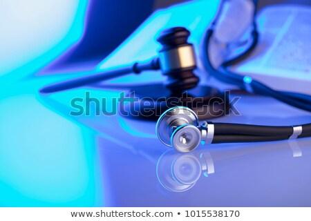 Droit ordre ruban bouclier icônes affiche Photo stock © -TAlex-