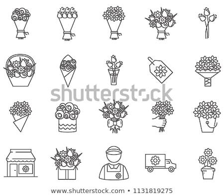 Stok fotoğraf: Buket · vazo · kırmızı · yapay · çiçekler · çiçek