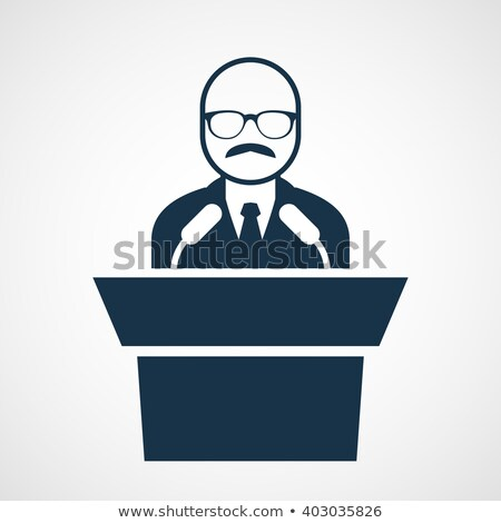 Bald-headed man at rostrum - speaker in glasses at tribune Stock photo © Winner