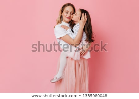 Blond hair girl in dark blue skirt isolated on white Stock photo © Elnur