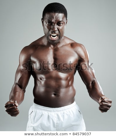 Torso sudare uomo topless isolato nero Foto d'archivio © alexandrenunes