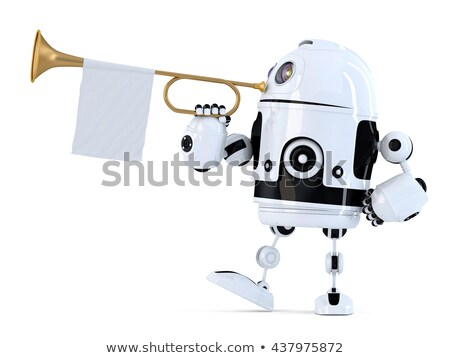 robot holds trumpet with blank white flag 3d illustration isol stock photo © kirill_m