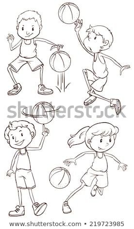 Proste szkic człowiek gry koszykówki ilustracja Zdjęcia stock © bluering
