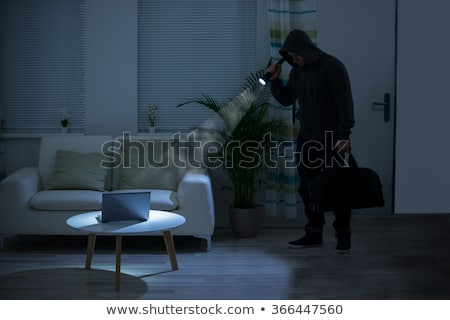 A robber with a flashlight and a bag Stock photo © bluering