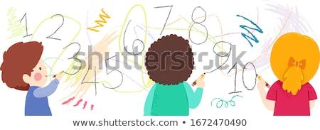 Huit filles écrit mur blanche bureau Photo stock © bluering