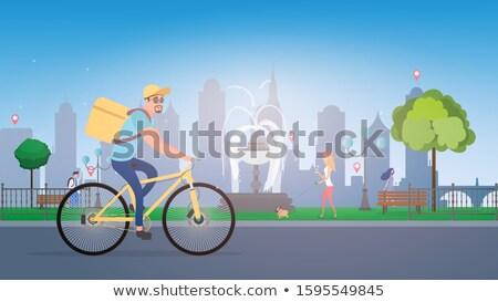 Ciclista bicicletta illustrazione sfondo arte blu Foto d'archivio © bluering