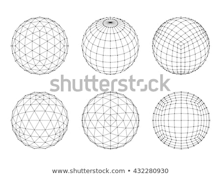3d hexahedron wireframe mesh sphere network line hud design sphere vector illustration eps10 stock photo © said