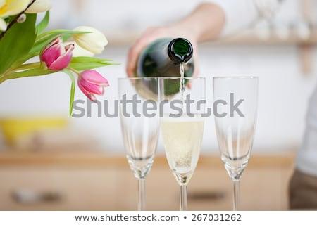 champagne · bouteille · verre · noir · résumé - photo stock © dashapetrenko