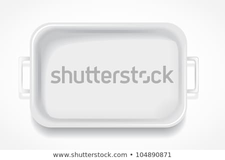 Mély négyszögletes porcelán edény izolált fehér Stock fotó © Digifoodstock