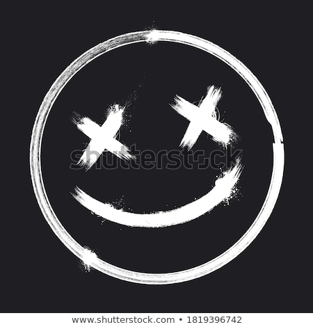 Graffiti uśmiechnięta twarz czarno białe farby podpisania Zdjęcia stock © Melvin07