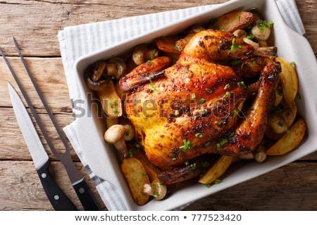 Pieczony kurczak ziemniaki ilustracja tle sztuki Zdjęcia stock © bluering