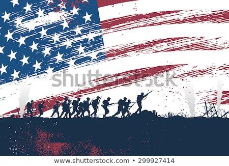 Katona harcol katonaság támadás ellenség izolált Stock fotó © grafvision