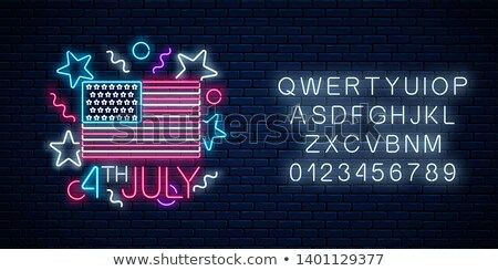 Glowing Neon 4th July Sign Stock photo © Voysla