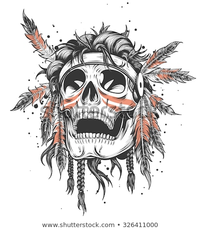 Stock photo: Indian Skull with Tribal feather Hat. Dead Chief