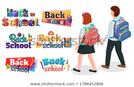 illustration of vector pencil boy and girl going to school on paper Stock photo © get4net