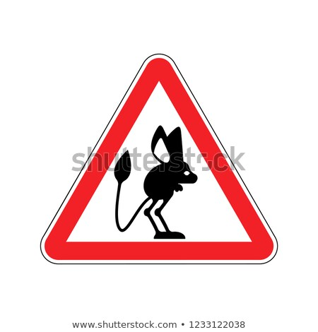Attention Jerboa. Caution Steppe animal. Red triangle road sign Stock photo © popaukropa