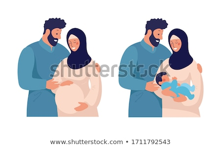 Arab pregnant. Arab couple Vector illustration. Stock photo © NikoDzhi