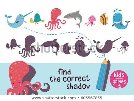 Crianças aprendizagem jogo encontrar corrigir tubarão Foto stock © adrian_n