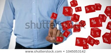 Középső rész üzletember megérint láthatatlan képernyő áll Stock fotó © wavebreak_media