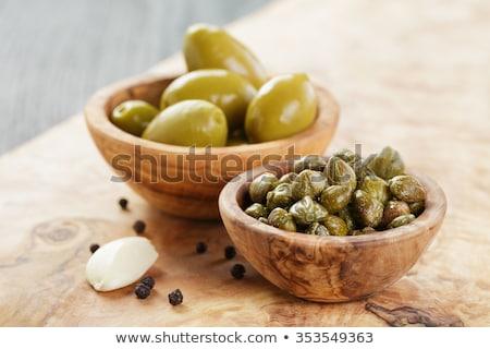 оливками Ягоды чеснока пластина зеленый маслины Сток-фото © Digifoodstock