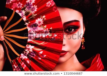 biały · piękna · geisha · twarz · tle · sztuki - zdjęcia stock © zurijeta