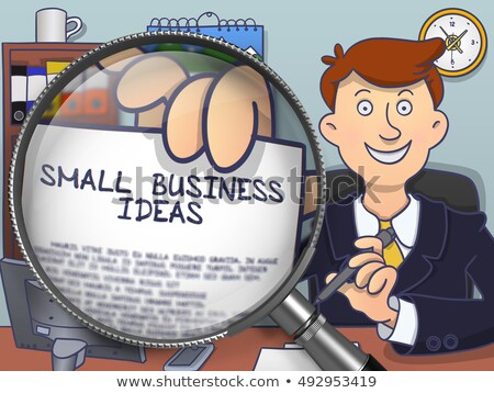 Small Business Ideas through Magnifier. Doodle Style. Stock photo © tashatuvango