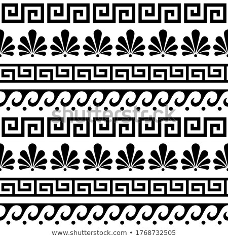 Greek floral seamless vector pattern - ancient repetitive background in black and white Stock photo © RedKoala