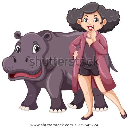 Hipopotam pyzaty kobieta biały ilustracja charakter Zdjęcia stock © bluering