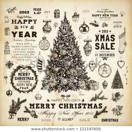 Christmas Tree Baubles Wreath Design Border Stock photo © Krisdog