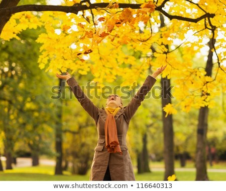 Woman playing with a fallen leave Stock photo © IS2