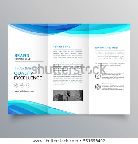 blue wave trifold business brochure design template Stock photo © SArts