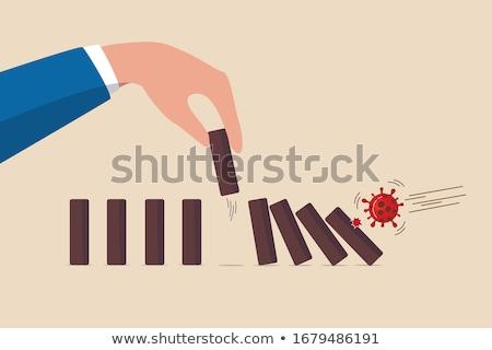 Domino veroorzaken teamwerk Stockfoto © devon