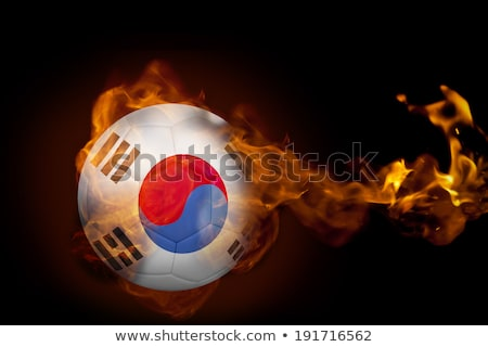 Football in flames with flag of south korea Stock photo © MikhailMishchenko