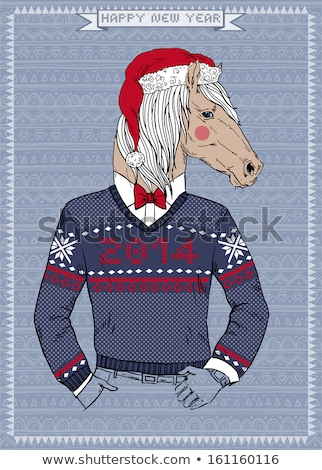 happy horse in sweater and hat vector illustration stock photo © robuart