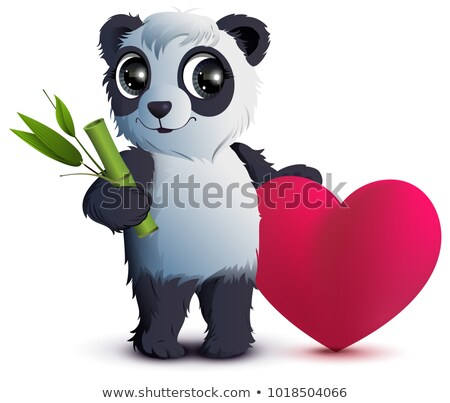 Valentines Day. Bear panda holds stalk of bamboo and red heart Stock photo © orensila