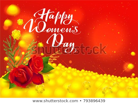 Happy womens day greeting card. Flowers red rose and yellow mimosa. Handwritten text Stock photo © orensila