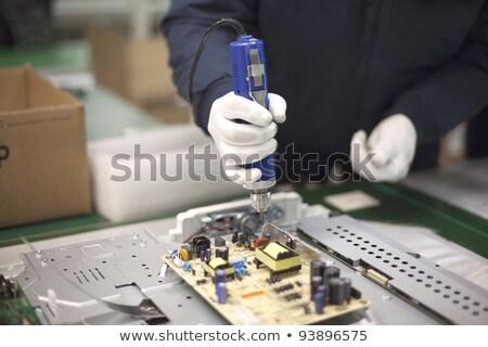 製造 テレビ 工場労働者 白 ラボ スーツ ストックフォト © Traimak