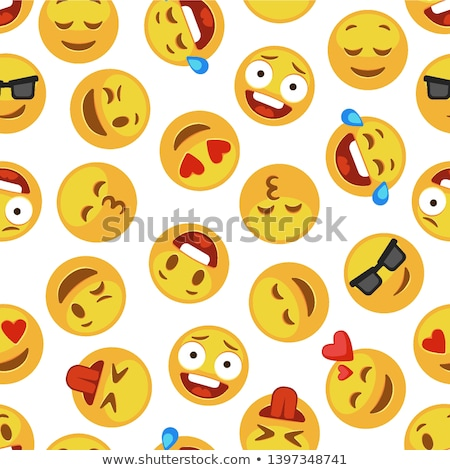 Emoji smiley faces pattern, emoticon stickers background Stock photo © ikopylov