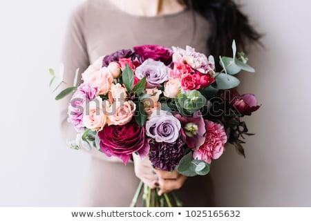 Beauty fashion model girl holding pink rose  Stock photo © DenisMArt
