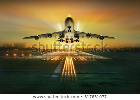 Stock photo: Up in the sky concept with airplane takeoff
