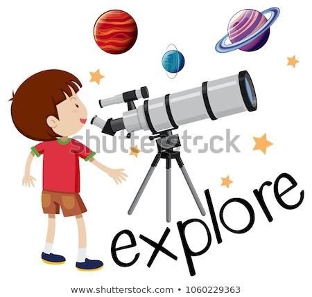 Stock fotó: Felfedez · gyerek · néz · távcső · illusztráció · gyermek