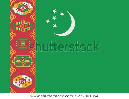 Türkmenisztán zászló fehér keret utazás vidék Stock fotó © butenkow