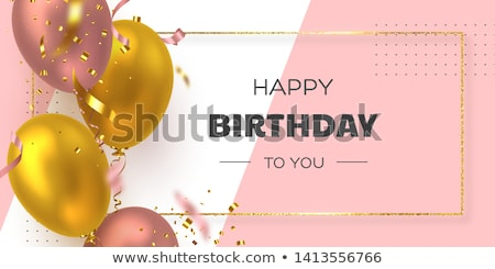 Happy Birthday Vector Design with Balloon, Typography and Falling Confetti on Shiny Yellow Backgroun Stock photo © articular