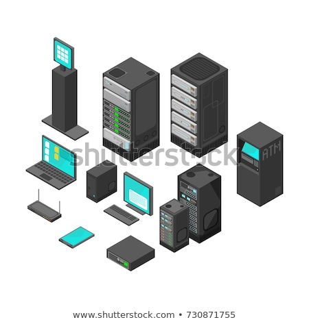 Isometric pc monitor icon. Computer technology vector sign Stock photo © popaukropa