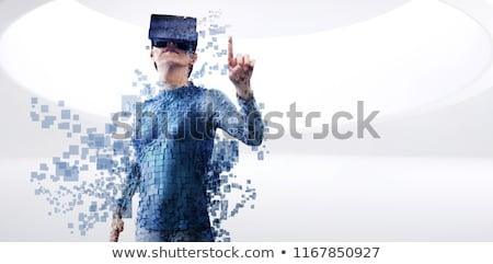Digitális kompozit nő valóság teljes alakos szürke pixeles Stock fotó © wavebreak_media
