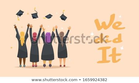 joyful woman graduate victorious gesture hands up Stock photo © studiostoks