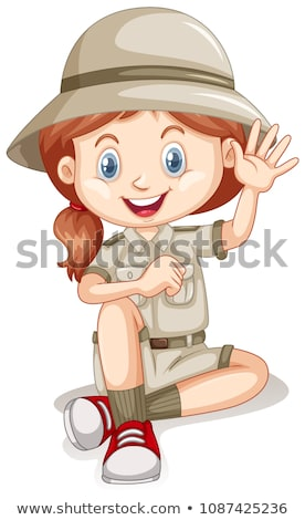 A Young Safari Girl on White Background Stock photo © bluering