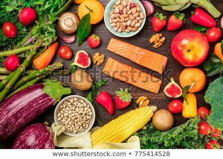 Collectie rauw voedsel vruchten achtergrond olie dieet Stockfoto © M-studio