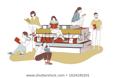 Young girl student sits on stack of giant books Stock photo © vectorikart