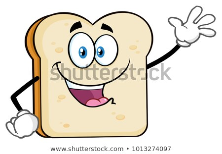 Cute Bread Slice Cartoon Character Waving For Greeting Stock photo © hittoon